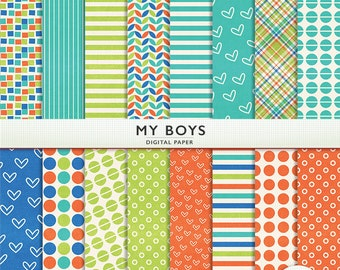 My Boys Digital Scrapbook Paper -  20 Sheets Textured - Personal Commercial  Instant Download  Cardstock G7511