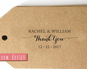 Thank You CUSTOM ADDRESS STAMP, pre inked stamp, thank you card, favor tag, calligraphy address stamp - Stamp b5-55R