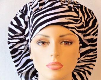 Zebra Scrub Hats Medical Bouffant Scrub Hat Wild Thing Zebra with a Matching Headband