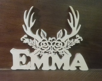 First name wooden with deer head