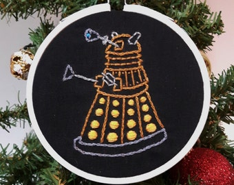 Embroidered Christmas ornament. Doctor Who Dalek ornament. Nerdy xmas tree decor. Nerd gifts. Dr Who cross stitch. Geek art Robot embroidery