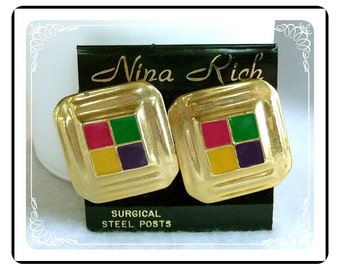 Nina Rich Earrings - Old Store Stock Nina Rich Primary Color Blocks Pierced Earrings - E263a-052212000