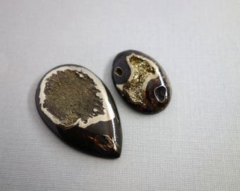 Simbircite ammonite with silver pyrite natural stone cabochon set lot of 2, rare unique fossil, geode