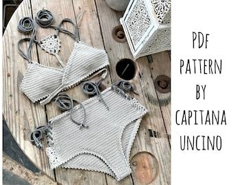 PDF-file for Crochet PATTERN, Aliyah Crochet Bikini Top and Bottom, Sizes XS-L, surfer bikini, Highwaist bottom