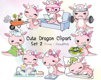 Cute Dragon set 2 clipart instant download PNG file - 300 dpi
