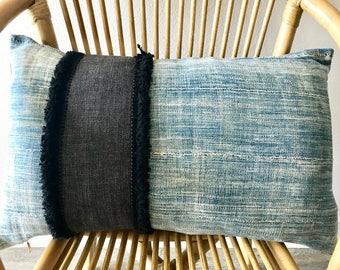 Bohemian Modern Pillow- Lumbar- Vintage African Mud Cloth/Linen (Indigo & Black) 14x22