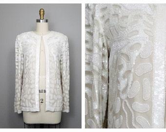 Heavily Embellished Sequined Jacket // White Beaded Sequin Evening Jacket