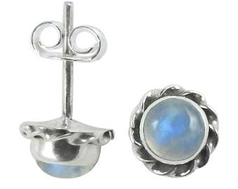 Moonstone Stud Earring, Rainbow Moonstone Stud Earrings, Moonstone Studs Moonstone  Earring, White Moonstone Post Earring,