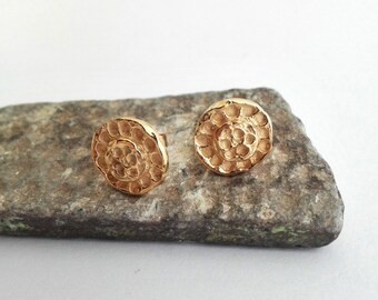 Gold Stud Earrings, Yellow Gold Studs, Handmade Studs, Hammered Textured, Gold Post Earrings, Gold Circle Posts, Round Post Earrings