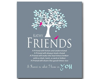 Gift for Friend, Personalized Art Print, Birthday Gift, Bridesmaid Gift, Work Friend, Thank You for Being a Friend, Available in Any Color