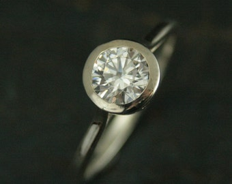 Bezel Set Engagement Ring--Sterling Silver Engagement Ring--Cubic Zirconia Ring--White Topaz Ring--White Sapphire Ring--Moissanite Ring