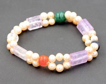 Amethyst green Aventurine Beads Bracelet