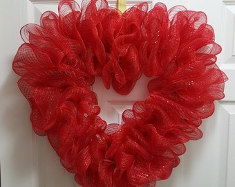 Heart Shaped Wreath, Red or White, Deco Mesh Wreath, Ready to Decorate, DIY or leave as is