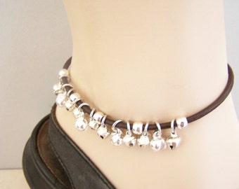 Leather Bell Anklet, Sizes 6-12 inchs, Ankle Bracelet, Black or Brown, Slave Anklet, Petite to Plus Size