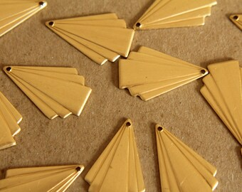 8 pc. Raw Brass Art Deco Fanned Geometric Charm: 24mm by 16mm - made in USA | RB-115