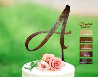 Letter a cake topper, cake toppers for wedding, wedding cake topper, monogram cake topper wedding, initial wooden, cake topper a, CT#282