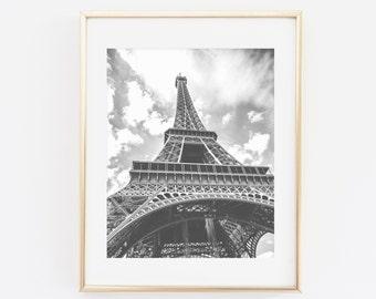 Eiffel tower printable wall art, Eiffel Tower Print, Paris photography print, Black and white, Eiffel tower Print, Paris decor, French Decor