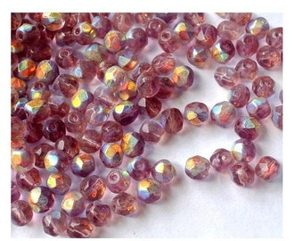 50 VINTAGE glass beads, beautiful gentle shades 8mm