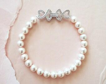 Pearl Bracelet | Bridal Bracelets | Swarovski Pearl Bracelet | Pearl and Diamond Bracelet | Vintage Wedding Jewelry | CLARISSA