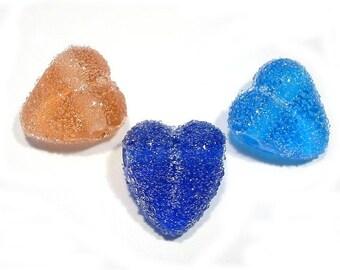 Sugared Hearts Trio Handmade Glass Lampwork Beads