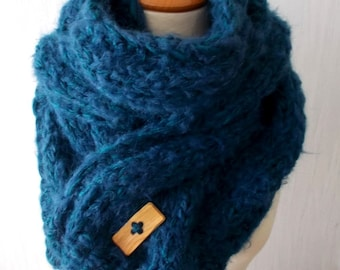 Chunky Scarf Big Cabled Teal Blue Cowl Hand Knitted Men Women Winter Accessory