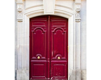 Paris Photography, Red Doors Photograph, Paris Decor, Paris Print, Fine Art Travel Photograph, Urban Home Decor - Red Door