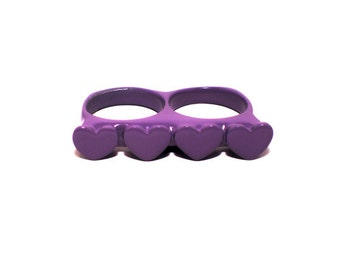 Ultra Violet ring Loveknuckles double knuckle heart ring