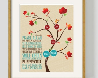 """DIGITAL Family tree and house rules framed art. Muslim Anniversary gift, Islamic reminders. 12x16"""""""