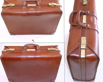 Fabulous vintage suitcase-belting leather luggage with key-large suit case