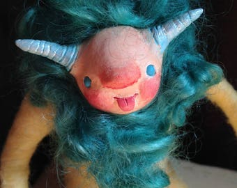 OOAK Art doll - needle felted - whimsical - magical - cute creature - turquoise - yellow - Lino