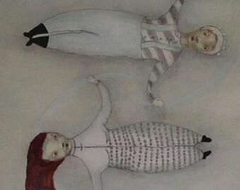 "Kids room wall art. figures in winter art. girl's room wall art. childrens art print ""Snow Angels"""