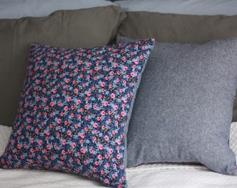 Rifle Paper Co Rosa in navy and chambray pillow cover