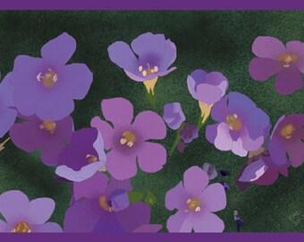 Flower Greeting Card, Blank, Campanula Design No A6030