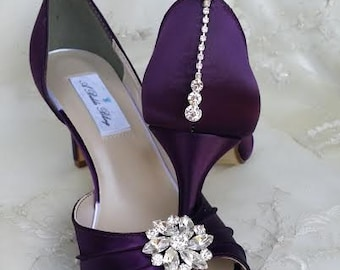 Purple Eggplant Bridal Shoes with Crystals - 100 Color Choices Purple Eggplant Wedding Shoes Purple Bridesmaid Shoes Purple Bridal Shoes