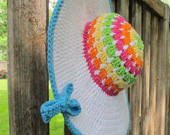 CROCHET PATTERN - Life's a Beach Hat - crochet sun hat pattern, summer hat pattern in 3 sizes (Toddler, Child, Adult) - Instant PDF Download