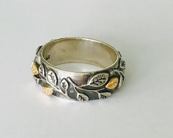 Authentic Discontinued Pandora Tree of Life Sterling Silver & 14k Gold Ring/Band Size 8-1/4