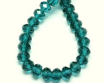Set of 20 glass beads with faceted - turquoise - 8 x 6 mm T42