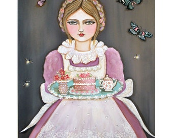 """Tea Party - Camille and Midnight Tea - Large 11"""" x 14"""""""