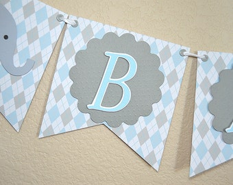 Banner, Bunting, Baby Elephant Banner for A Baby Shower or Birthday, Available in 3 colors, blue, pink, mint green