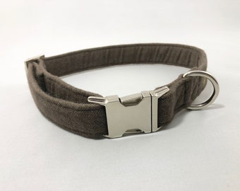 Herringbone Collar · Brown Herringbone Collar · Large Dog Collar · Small Dog Collar · Brown Dog Collar · Flannel Dog Collar ·