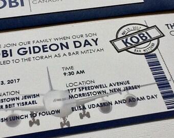 Ticket Bar Mitzvah Invitation