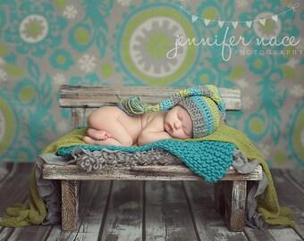 Baby Boy Elf Hat in Aqua, Lime, and Silver Grey