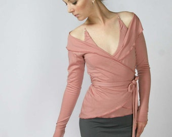 wool wrap shrug with off the shoulder neckline - MERINO II range - made to order