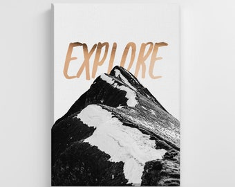 Explore Mountain Landscape Quote Peaks Large Canvas Nature Art Print Stylish Home Decoration Wall Art Nursery Decor Living Room | IC189
