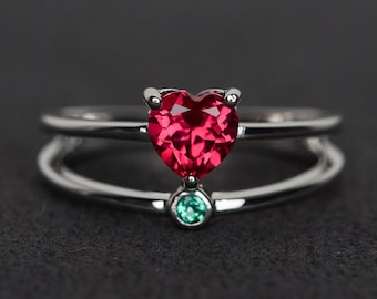 ruby ring heart cut engagement ring red gemstone ring double band red ruby ring silver July birthstone ring