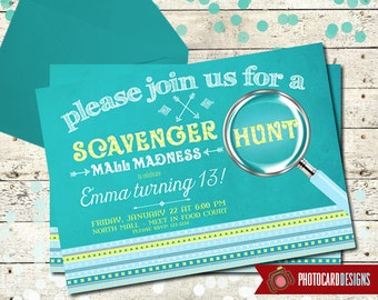 Scavenger Hunt Birthday Invitation, Mall Madness Invitation, Road Rally, Card, Invite, Digital, Print file, Oh Snap, Party, Mall Madness