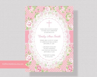 FIRST COMMUNION INVITATION For Girl, White Lace First Communion Invitation, Girls Baptism Invitation, Confirmation Invitation, Shabby Chic