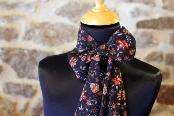 Scarf, Ascot, tie women Navy Blue with rust Viscose.noeud Butterfly woman vintage chiffon flowers