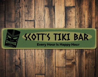 Happy Hour Sign, Tiki Bar Sign, Personalized Beach Bar Sign, Custom Home Bar Name Sign, Metal Beach Bar Decor - Quality Aluminum ENS1001218