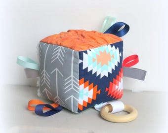 Aztec sensory cloth block, teething toy, baby soft block, ribbon cloth block, tag cube, teething cube, baby shower gift, arrow baby toy